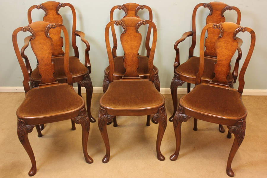 Antique Antique Set of Six Walnut Dining Chairs