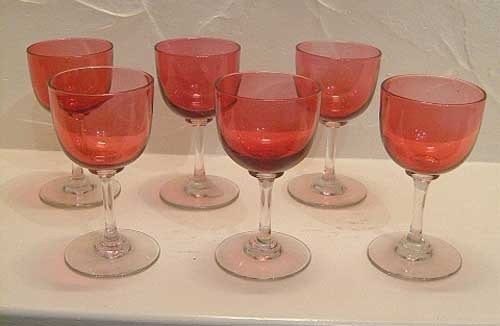 Antique Victorian Cranberry Set Six Wine Glasses