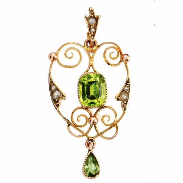 Majestic Edwardian Peridot and Pearl Pendant