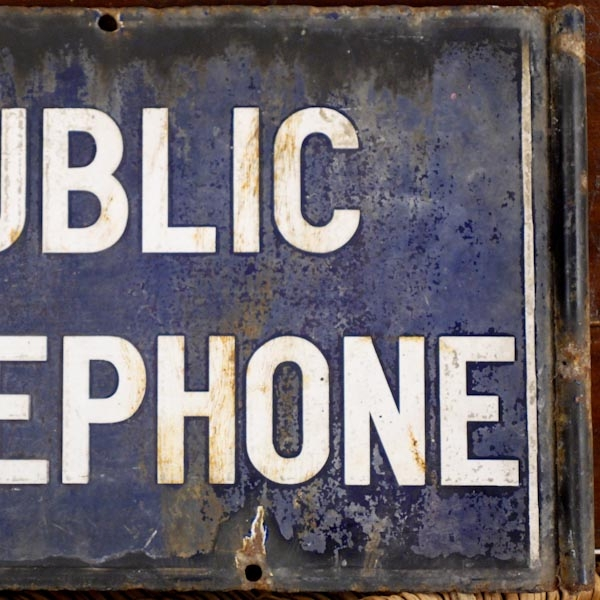 Antique Enamel metal 'Public Telephone' sign