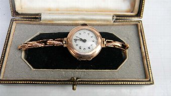 Antique Lady's wristwatch rose gold Victorian in presentation case.