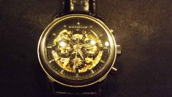 Antique Meridian Wristwatch rare automatic skeleton movement front and back