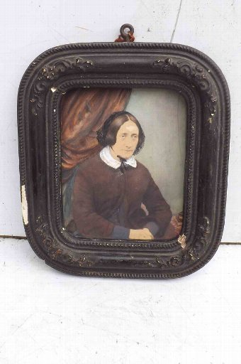 Antique Minature painting of woman Victorian