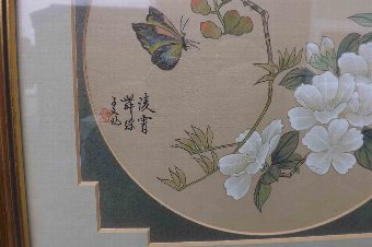 Antique Chinese signed paintings framed behind glass. @@ free worldwide post.