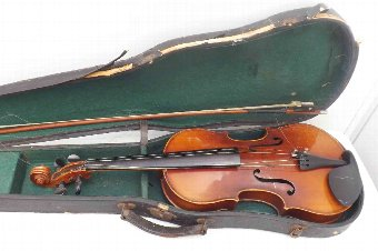 Antique old violin with bow & case