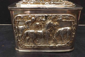 Antique Tea Caddy circa 1800 silver plate with horse & jokey's scenes in relief
