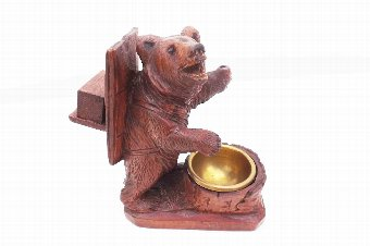 Antique black forest bear carving smoking station