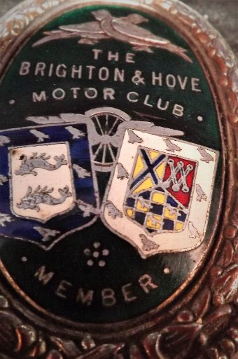 Antique The Brighton & Hove motor club members badge rare 1930's vintage item