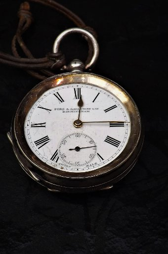 Antique antique pocket watch, Birmingham solid silver cased