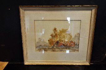 Antique WATERCOLOUR PAINTING OF A COUNTRY SIDE SCENE SCENE SIGNED