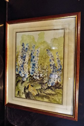 Antique WATERCOLOUR PAINTING OF A STILL LIFE FLORAL SCENE SIGNED