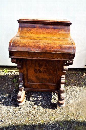 Antique Antique Burr Walnut Pop Up Davenport Desk c.1860