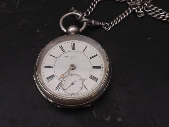 Antique solid silver pocketwatch & chain