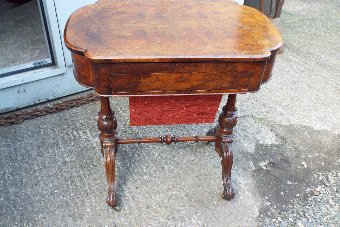 Antique Lady's Writing Desk/Sewing Workbox in Burr Walnut Victorian