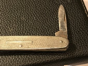Antique Pocket knife silver grips Masonic