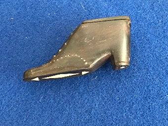 Antique Snuff Box In Shape Of Shoe. Victorian