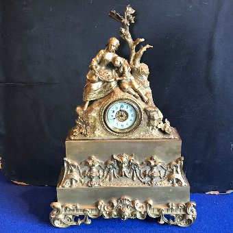 Antique Antique French Mantle Clock Bronze Ormolu 8 Day 19th century