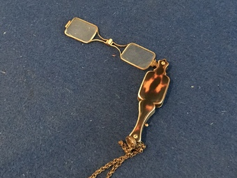 Antique Tortoise shell and gold Victorian house keeper's lanyard and glasses