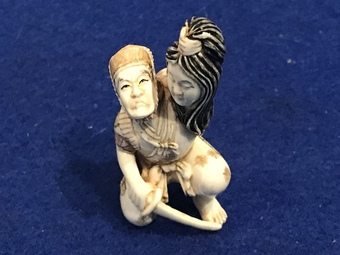 "Antique "" The Death Of a Samurai "" Japanese ivory netsuke"