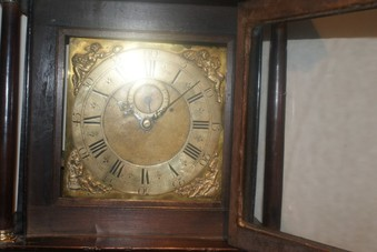Antique Georgian Coventry oak cased grandfather 30 hours clock with brass face