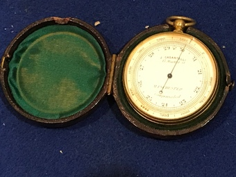 Antique Hand held barometer in case