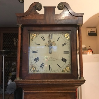 Antique Grandfather clock 30 hour oak cased John Wilson Nuneaton