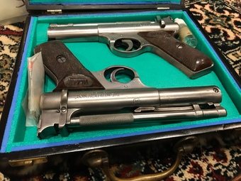 Antique Matching Webley .22 air pistol's boxed