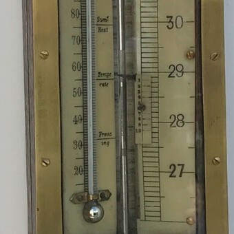 Antique ENGLISH Oak STICK BAROMETER, BELIEVED TO BE MADE AROUND 1790.