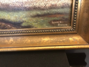 Antique Oil on board large landscape painting