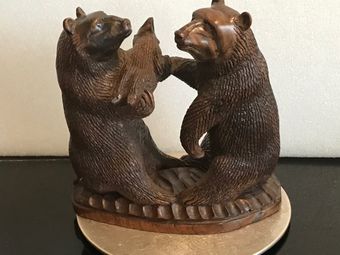 Black Forest family of Bears carving