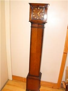 Antique GRANDMOTHER WESTMINSTER CHIMES OAK CASED CLOCK.