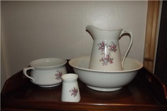 Antique JUG BOWL POTTY AND BRUSH POT VICTORIAN SUPERB CONDITION