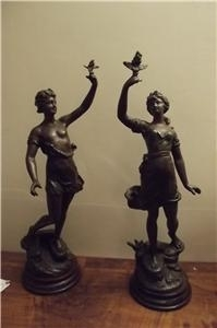 Antique L GUILERNI PAIR OF SPELTER FIGURES STUNNING QUALITY ITEMS.