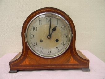 Antique Art deco clock Edwardian mahogany case movement superb working condition.