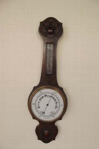 Antique Barometer thermometer oak cased large item--R1