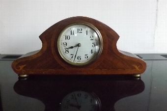 Antique Clock mantel french movement mahogany cased with inlay Edwardian.--TS
