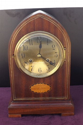 Antique Gustav Becker Lancet Mahogany with brass & Shell inlay bracket clock. Edwardian