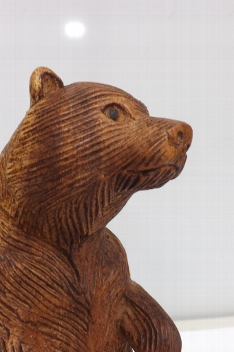 Antique Bear standing on hind legs, wood Black forest carved. SB