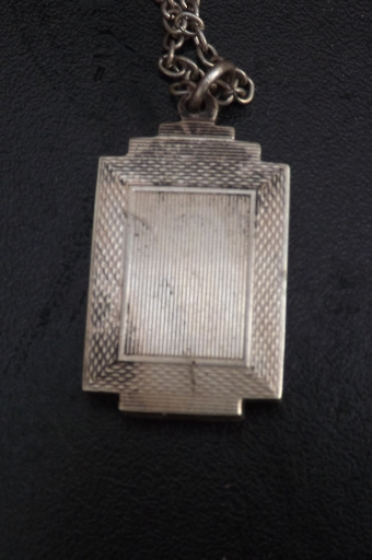 Antique Necklace and pendant picture frame art deco English hallmarked silver. CC