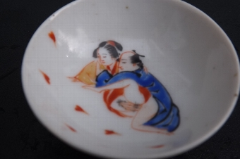 Antique Erotica Japanese couple small saki porcelain cup Victorian. CB