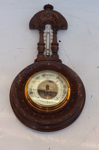 Antique Barometer/thermometer carved walnut case. SBB