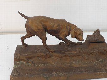 Antique Art Deco metal desk top ink well with hunting dog pen holder