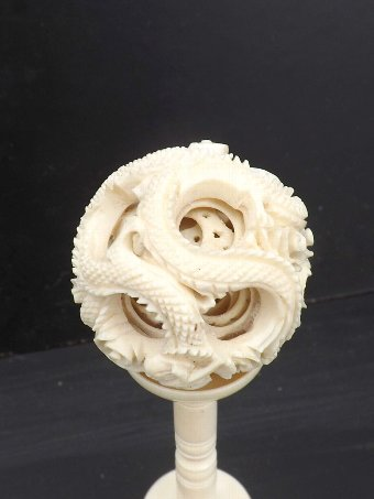 Antique Ivory carved balls on stand Victorian object.
