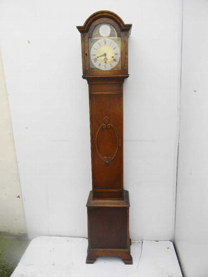 Grandmother oak cased westminster chimes 1920's item of quality.