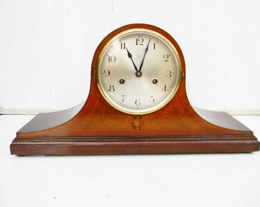 Clock mahogany with inlay Edwardian twin train mechanical 8 day free Uk post.