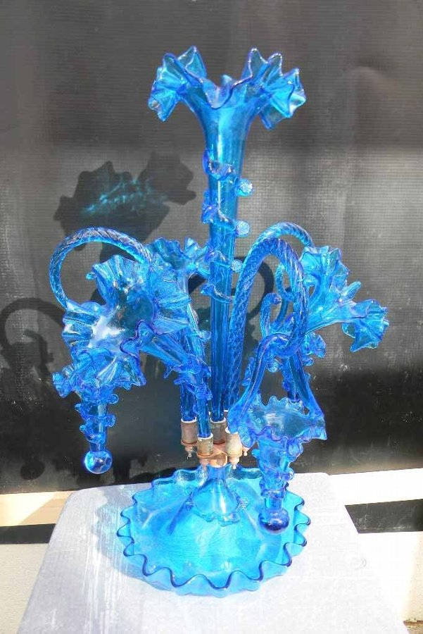 Blue carnival Glass epergne