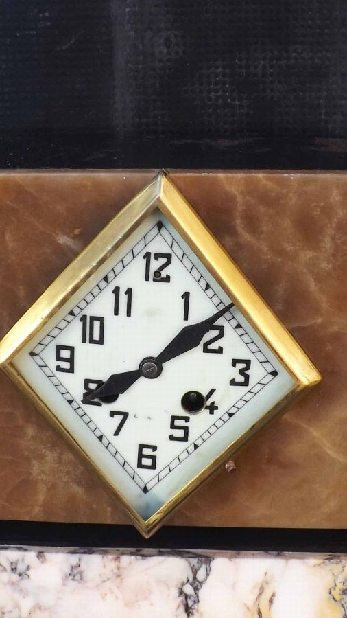 Antique Art Deco Clock set, 8 day mechanical striking on bell circa 1920's
