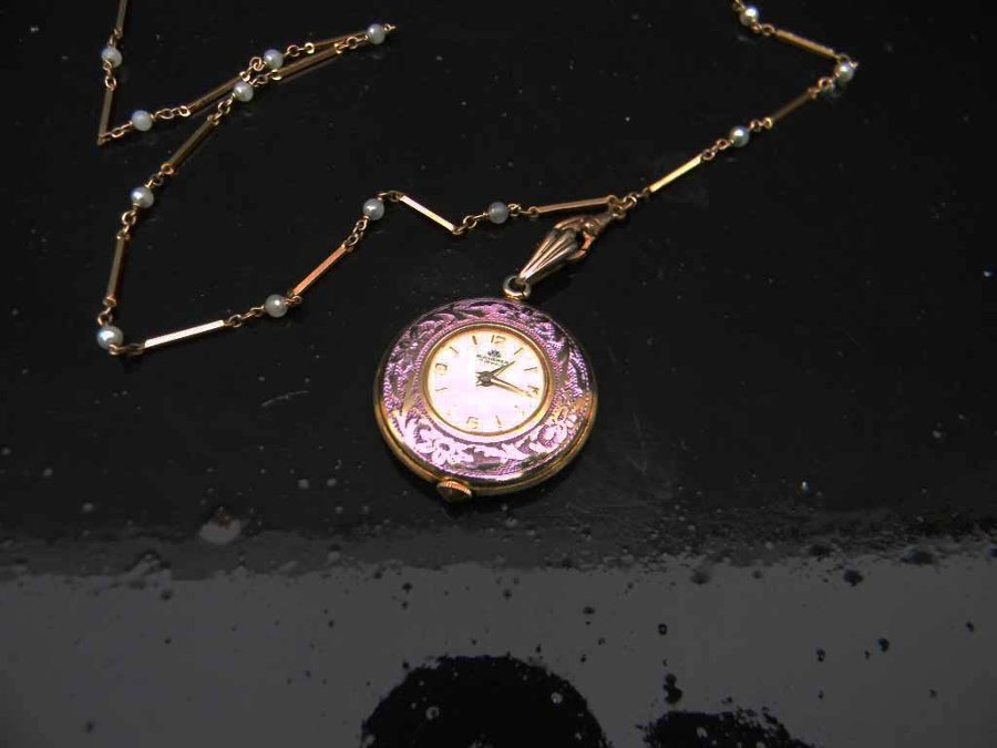 Ladies Fob watch and chain necklace