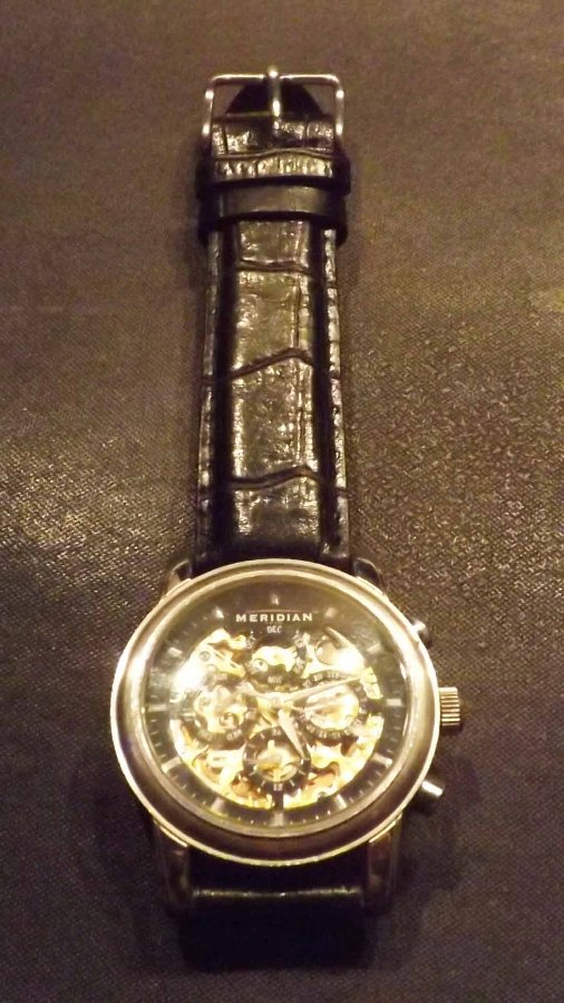 Meridian Wristwatch rare automatic skeleton movement front and back