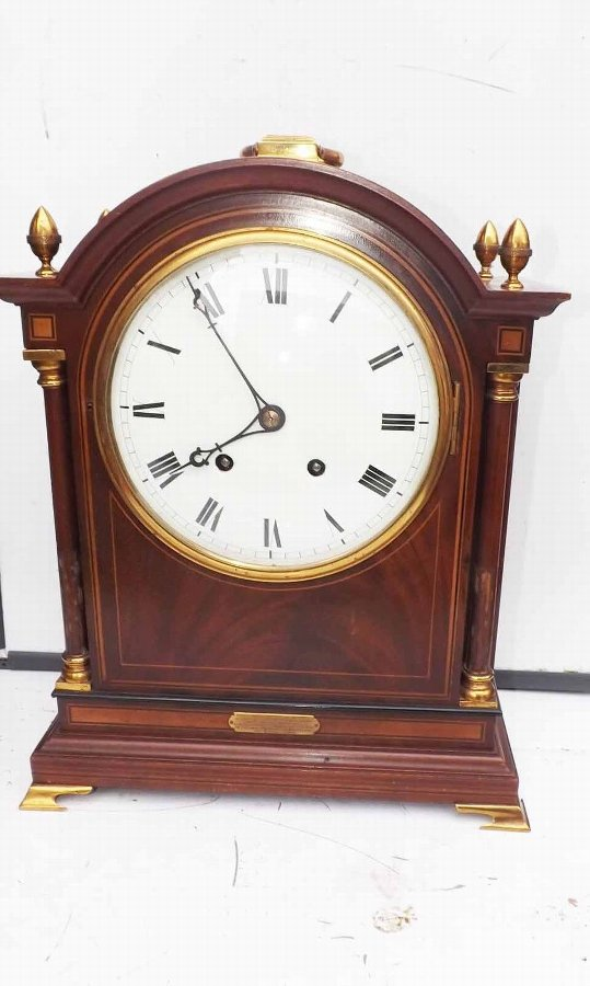antique bracket clock late Victorian mahogany with inlay case